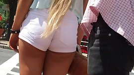 PAWG Candid Blonde Teen White Summer Shorts Goddess