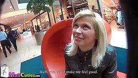 MALLCUTIES Nice blonde teen with big boobs doing blowjob