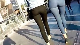 2 sexy teens booty in tight jeans and leggings
