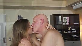 Young woman love faccid old dick