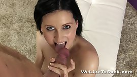 Obedient girl on her knees sucking dick