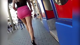 sluty miniskirt long leg teen in public