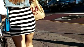 Leggy Japanese College Girl Tight Minidress Walking