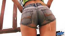 Perfect Ass and Boobs Brunette Teen Tight Denim Shorts