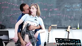 Dumb Student Dolly Leigh Blows & Bangs Her Teachers Skin Flute