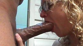 Teen girl deep throating a BBC