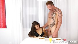 Teenage Latina Giving Blowjobs To Stepbro And Stepdad During Breakfast