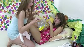 Young small tits lesbian Dominique and Blondie