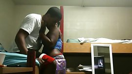 Black student couple fucks in campus dorm room