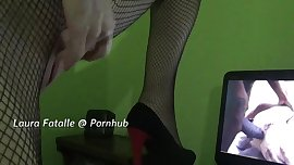 Teen in stockings and heels masturbating while watching porn-Laura Fatalle