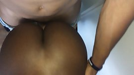 BIG BLACK BOOTY JIGGLES AS IT TAKES A DICK DOGGYSTYLE