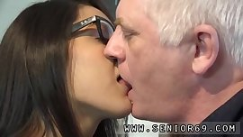 Old dude and doggystyle Carolina is nasty and embarks masturbating.